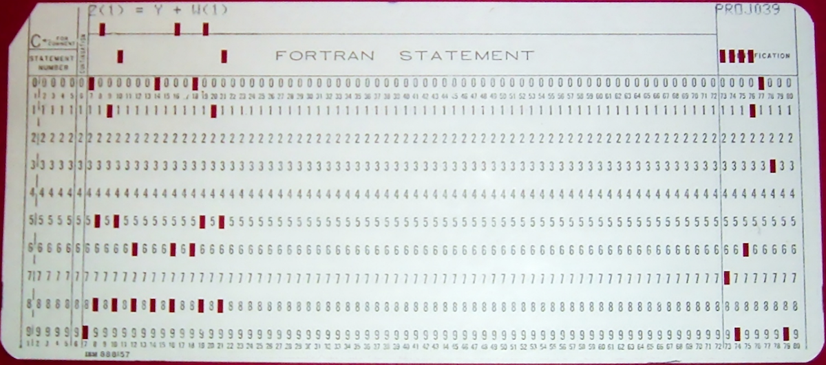 image of fortran punch card